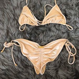 Triangl Yellow Velvet String Bikini